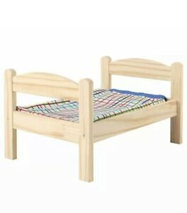 IKEA DUKTIG Doll's bed with bed linen set,  Pine, multicolour