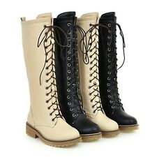 New AU Plus Size Calf High Martin Boots Laces Up Zip Low Heel Lady's Shoes F502