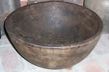Turned Wood Bowl Extra Large Primitive Antique Southeastern USA Brown
