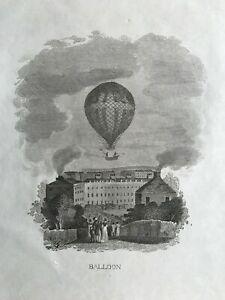 1807 Antique Print; Hot Air Balloon