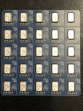 Sheet Of 25 / 1 GRAM PAMP SUISSE LADY FORTUNA PLATINUM BAR 999.5 FINE IN ASSAY