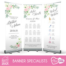 1 x Blush Floral Shabby Chic Wedding Pull Roll Up Roller Banner/Sign/Table Plan!