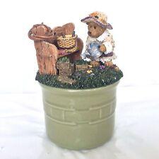 Boyds Bear Crock & Candle Topper Sage Basketblooms & Longaberger Sage Crock New