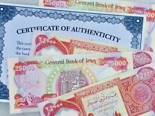 "IRAQ 25000 Dinar 25,000 25K LIGHTLY ""CIRCULATED"" UV PASS Certificate Authentic"