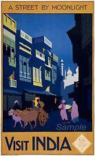 Vintage visit India Travel A4 Poster Print