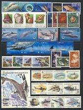 Fish and marine life valuable mnh vf collection on two stockpages