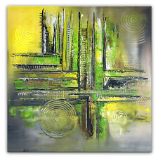 BURGSTALLER Original Gemälde abstrakte Malerei grün gelb Kunst Bilder Wandbilder