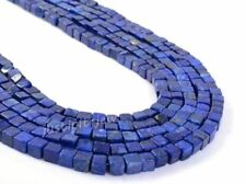 0148 4mm Blue Lapis lazuli cube gemstone loose beads 16""