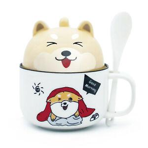 Coffee Mugs Tea Cup Novelty Design Ceramic Mug with Lid & Spoon Lovely Shiba Inu