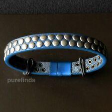 TATEOSSIAN LONDON BLUE LEATHER ALUMINIUM STUDDED BRACELET Size M 18 cm, BNIB