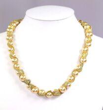 D5 Kim Lou e Designer Gold Faux Pearl Metallic Fabric Handmade Necklace $259