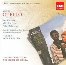 OTELLO 3x CDs (Vickers/Freni/Karajan) English libretto Verdi Opera EMI Berlin