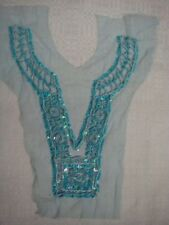 1 Turquoise Tulle Beaded Sequins Bugle Collar Applique Neckline