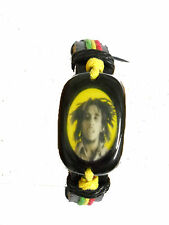 BLACK LEATHER YOUNGER BOB MARLEY PICTURE w RASTA RED GREEN YELLOW ADJ BRACELET