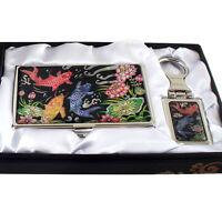 Set Porte-clés +Porte-cartes de visite Nacre Art Corée Pêche LOTUS POISSON CARPE