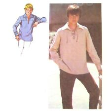 Vtg 70s Simplicity 8819 Boys L/S Pullover Shirt Front Lacing Easy Western 12 FF