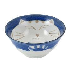 "2 PCS. Japanese 5.75""D Rice Children Porcelain Bowl Happy Cat Blue Made in Japan"