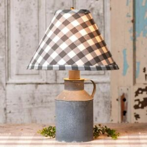 Farmhouse new Jug Lamp in weathered Zinc with Gray Check Lamp Shade