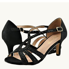 17035f93c644b6 Women s Shoes Blossom Valerie 3 Peep Toe Crystal Strappy Heels Black Pearl  ...