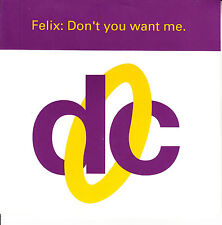 """FELIX Don't You Want Me SOLID SLEEVE 7"""" 45 record + juke box title strip RARE!!!"""