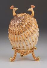 LARGE Peacock egg trinket box LIMITED EDITION by Keren Kopal w/ Austrian crystal
