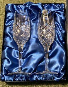 Royal Scot Crystal - Highland Champagne Flutes 2 in Presentation Box NEW