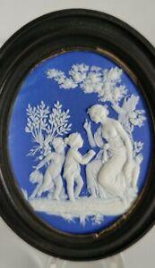 Wedgwood jasperware lady and putti cobalt plaque Adam's medallion