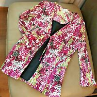 CHRISTOPHER BANKS Floral Stretch Ruffle Crinkle Ripple Women's Blouse Top XL