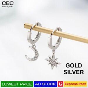 Star Moon Crystal Hanging Sleeper Hoop Drop Dangle  Women Girls Kids Earrings AU
