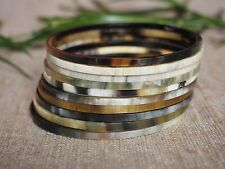 Buffalo Horn Stack of Bracelets Set 10 Thin Bangles Natural Material Multi HBS42