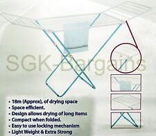 Blue 18m Foldable Outdoor Indoor Folding 3 Tier Clothes Towl Laundry Airer Dryer