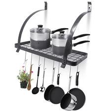Kitchen Wall Mounted Pot Pan Rack Holder Cookware Storage Shelf Hanger w/ Hooks