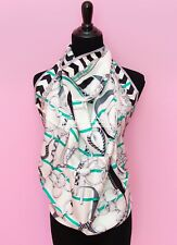 NEW HERMES 90 cm 36 WHITE PANOPLIE EQUESTRE SILK TWILL SCARF SHAWL CARRE t98