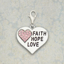 CHRISTIAN LATCH CHARM Faith Hope Love USA MADE  Sterling Silver Plated, Clip-On