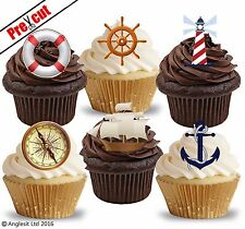 PRE-CUT NAUTICAL SHIP & ACCESSORIES EDIBLE WAFER CUP CAKE TOPPERS DECORATIONS