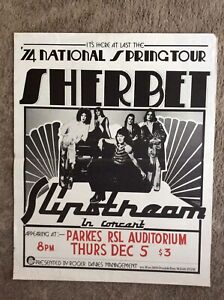 Original Sherbet 1974 National Spring Tour, Slipstream In Concert Poster