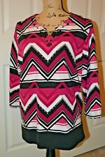 Alfred Dunner Pink/Black& White with Black Beaded Neckline - 1X