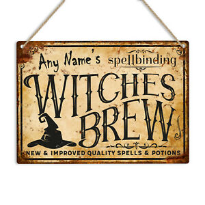 PERSONALISED Witches Brew Metal Tin Sign Plaque Any Name Funny Witch Halloween