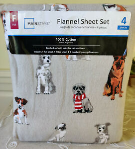 Mainstays 4 Piece Dog Print Full Size Flannel Sheet Set 100% Cotton New in Case