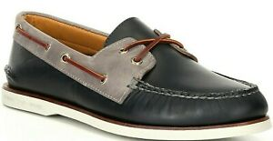 Men's Sperry Top-Sider GOLD CUP A/O 2-Eye Boat Shoe, STS21675 Mt Sizes Navy/Grey