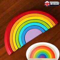 Baby Kids Rainbow Stacking Toy Puzzle Wooden Birthday Christmas Gifts New