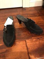 Stuart Weitzman Black Suede Slide Mules, Size 7