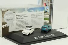 25 Years Fall of the Wall/Trabant 601+ VW Golf II / Set 1:87 Herpa H0