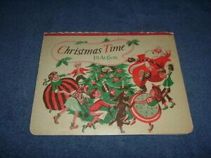 VINTAGE 1949 CHRISTMAS TIME IN ACTION POP-UP CHILDREN'S CARDBOARD BOOK  5 SCENES