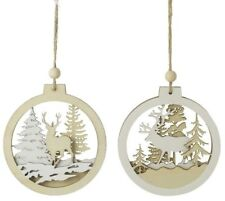 Set 2 Woodland Scene Reindeer Stag Wooden Cut Out Bauble Christmas Tree Decor