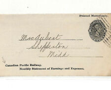 AC141 1890s CANADA POSTAL STATIONERY *Canadian Pacific Railway* 1c Wrapper Cover