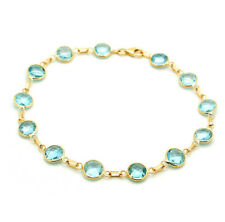 14K Yellow Gold Bracelet With Faceted Fancy Cut Blue Topaz Gemstones 8.5 Inches