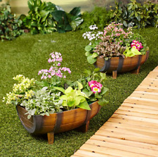 Outdoor Flower Planters 2 Resin Wine Barrel Design Deck Garden Patio Yard Decor