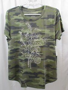 Women's Lucky Brand Camo Floral T Shirt Large