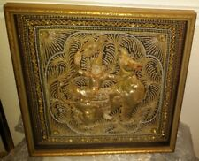 Vintage Burmese Kalaga Embroidery Tapestry Thai Dragon Horse Warrior Glass Beads